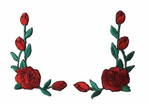 """#3964R Lot 2Pcs 2 1/2""""H Red Rose Flower Embroidery Iron On Applique Patch/Pair"""