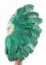"""Large 2 Layers 34""""x 60"""" Forest Green Ostrich Feather Fan Burlesque with Gift Box"""