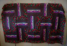 AF0705 Handmade Patchwork KING QUILT TOP, HOT PEPPER ROADS 86 x 73 Black Red