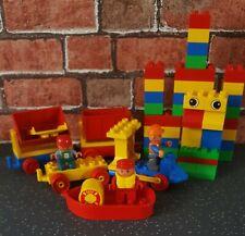 Vintage DUPLO Creative Bundle 48 Pieces Inc Bricks Train Boat Wheels & 3 Figures
