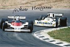 Arturo Merzario mano firmato OVORO marzo F1 12x8 foto.