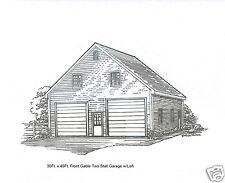 30 x 40 2 Stall FG Garage Building Blueprint Plans w/Loft