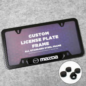 For Mazda Sport Front or Rear Carbon Fiber Texture License Plate Frame Cover