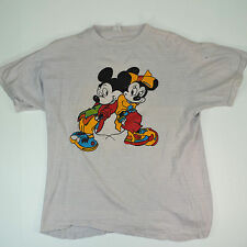 Vintage Mickey Mouse T-Shirt Vtg 70s Mickey & Minnie Tshirt Soft Thin Cotton S/M