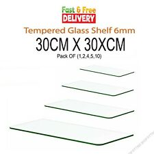 More details for hd clear tempered glass shelf panel storage sheet 6mm 30cm x 30xcm