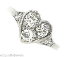 Exquisite Ladies Antique Art Deco Platinum 0.68ctw Diamond Heart Ring