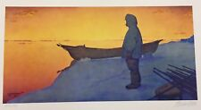 "Fred MACHETANZ ""Midnight Watch"" Litho Alaska Art Eskimo Sun Arctic Barrow AK"