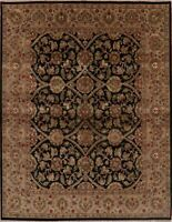 Decorative Floral Agra Oriental Area Rug Black Wool Hand-Knotted 8x10 CLEARANCE