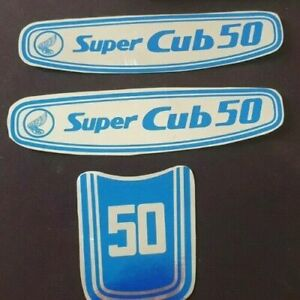 blue new adhesive badges Decal Stickers set to fit HONDA SUPER CUB 50 badge