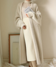 Womens Cashmere Fur Overcoats Trench Coat Long Cardigan Jacket Outwear Free Size