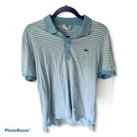 LACOSTE Light Blue/White Stripe Short Sleeve Polo Shirt Slim Fit Size 5