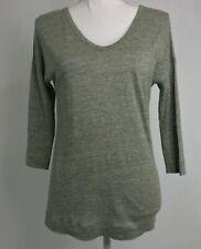 Majestic Filatures Paris Green Linen Silk V Neck 3/4 Sleeve T Shirt Top Sz 1 XS