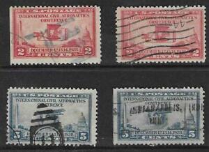 4 US Stamps Used #649 - 2¢ Aeronautics Confere, #650 - 5¢ Aeronautics Conf.-blue