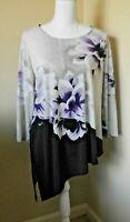 CHICO'S Floral 3/4 Sleeve Symmetrical Top Purple-Black-Gray Tunic Top Sz 2