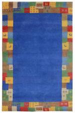 Tapis bleu pour la maison en 100% laine, 200 cm x 300 cm