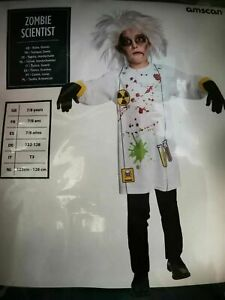 SALE! ZOMBIE SCIENTIST Halloween Costume Fancy Dress Child Outfit - Age 7-8