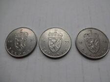 3x 5 Kroner Kronen 1976 1977 1978 NORWEGEN