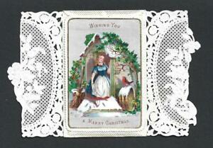 Y55 - VICTORIAN FOLDING PAPER LACE XMAS CARD - GIRL AND ROBIN