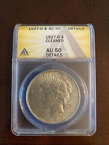 US Coins Liberty Silver Dollar 1927-D Cleaned AU 50