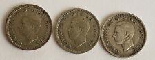 More details for 3 rare dates george vi silver 3d threepenny piece coins 1942, 1943, 1944