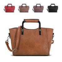Ladies Designer Faux Leather Studded Top Handle Handbag Shoulder Bag Tote G1803