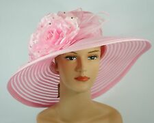 New Church Kentucky Derby Wedding Organza Wide Brim Dress Hat 286 Pink