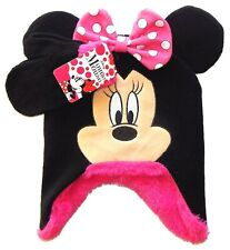 MINNIE MOUSE Sherpa-Lined Knit Peruvian Winter Hat & Mitten Set w/Bow & Ears $24
