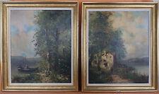 2 huiles sur toile formant pendants paysages animés signés GODCHAUX XIX painting