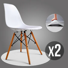 Set of 2 White Mid Century Eames Style DSW Dining Side Chairs w/Wood Legs