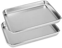 2x Stainless Steel Polished Baking Trays 23cm Set