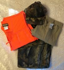 Men's Hunting Clothes Lot Camo Pants T Shirt Orange Vest Camo Hat 4 M Items A3