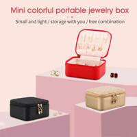 Portable Travel Dresser Jewelry Box Mini Earrings Organizers PU Leather