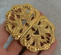 Hallmarked Sterling Silver Nurses Belt Buckle with Floral Design & Gilt Finish