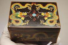 ANTIQUE OLD CHINESE PORCELAIN  ENAMEL CLOISONNE DRAGON JEWELRY BRONZE BOX CASKET