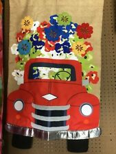 Regular Size Flag Red Truck Flowers House Burlap 13B4757