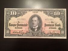Reproduction $10 Bill 1936 La Banque Provinciale Provincial Bank Montreal Quebec