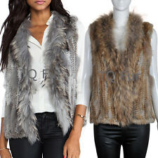 New Soft Vest Real Rabbit Fur Knitted Raccoon Collar Winter Autumn Gilet 61000