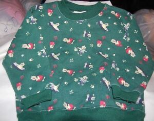 Sweatshirt Infant Boy Size 24 Month Long Sleeve Green With Teddy Bear Print