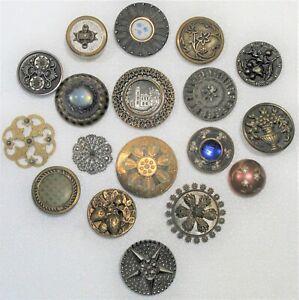 Antique Victorian Buttons Paris-Drum-Strawberry-Cut Steels-Castle-99 CENT START