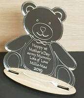 PERSONALISED FIRST MOTHERS DAY GIFT ENGRAVED TEDDY BEAR MIRROR KEEPSAKE PLAQUE