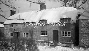 B/W Negative Bishops Sutton Hampshire Village Snow Scene 1940s +Copyright W551