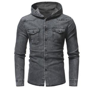 2021 Mens New Hot Sale Casual Slim Hooded Fashion Classic Cowboy Shirt