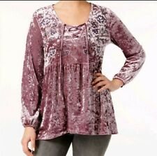 Style & Co Sz Lg Crushed Velvet Peasant Top Floral Embroidery Tunic Long Sleeve