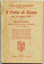IL PATTO DI ROMA del 13 Maggio 1890_Programma della Democrazia Italiana, 1907*