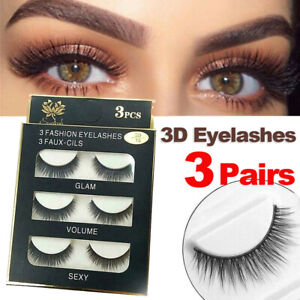 3 Pairs Mink Eyelashes Natural Long Thick Makeup Cross False Eye Lashes AU Stock