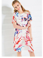 White with Bright Print A Line Swing Shape Summer Shift Dress with Pockets