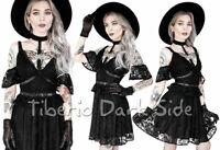 RESTYLE Pentagram Choker Neck Black Lace Occult Gothic Off Shoulder Skater Dress