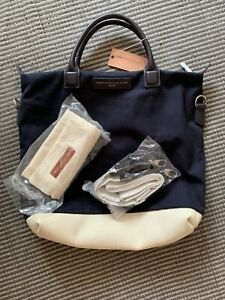 Want Les Essentiels O'Hare Canvas and Leather Tote Navy and White NWT