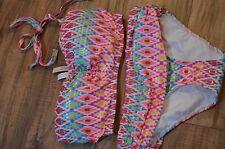 (#38) Victoria's Secret swimsuit swim set bikini bandeau 32DD XS white neon