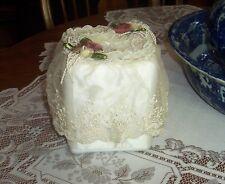 Beautiful Victoria's Garden Lace & Silk Flowers Square Tissue Box Cover